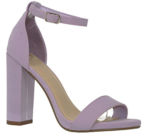 Women's Sandals Ankle Strap Heeled Lilac Nb Fashion Shoes Chunky s MVE t5x7wpA0qA
