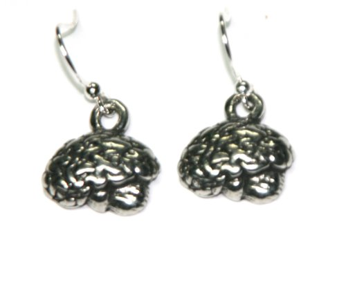 Safe Pewter Lateral View Brain Earrings