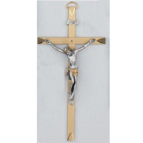 Wide Brass Tutone Crucifix - 8 inch