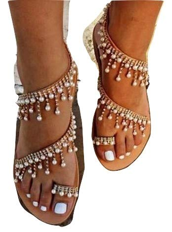 cd6653f0911d Amazon.com  Womens Summer Bohemia Flat Sandals Beads Pearl Beach Clip Toe Flip  Flops Flat Bottom Sandals Shoes  Clothing