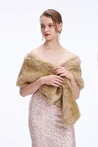 - Decahome Wedding Faux Fur Wraps and Shawls Wedding Bridal Stole for Brides and Bridesmaids Brown Mink Fur