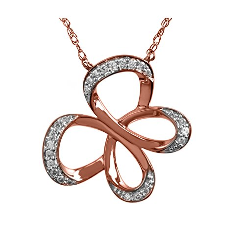 Jessica Simpson Butterfly Necklace (10K Rose Gold 1/10cttw Jessica Simpson Diamond Butterfly Necklace)