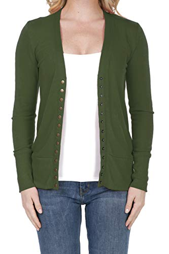 SHOP DORDOR 2039 Women's Button Down Long Sleeve Knit Cardigan Sweater Army Green 3XL
