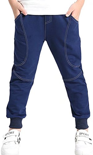 Kids Cotton Fleece Pull On Sports Basic Outdoor Jogger Sweat Pants with Pockets for Little Boys & Big Boys, Navy,...