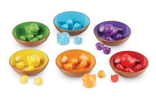 Learning Resources Birds in a Nest Sorting Set, 36 Pieces, Fine Motor Toy (Veggie Tray Easter)