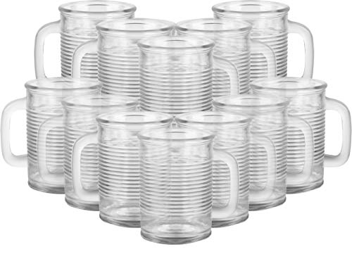 Circleware 04430/AM Huge Set of 12 Mason Jar Mugs in Fun Can Shaped Glasses Home and Kitchen Farmhouse Glassware Décor Drink Tumblers for Water, Beer, Whiskey and Cold Beverages 17.5 oz Clear -