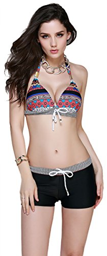 saym-womens-2-piece-bohemia-triangle-halter-with-shorts-bikini-swimsuit-red-xs