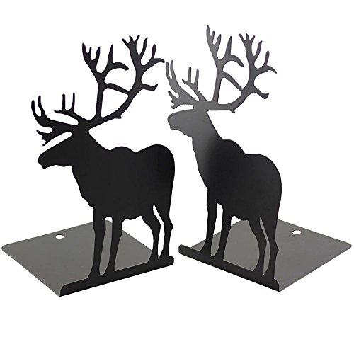 Bolbove Cute Deer Bookends 1pair Nonskid Black Metal Book Stands (Large Image)