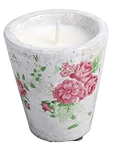 Esschert Design velas con tapa de diseño de rosas, en la olla, estampado, flores vela, 9 x 10 cm tamaño