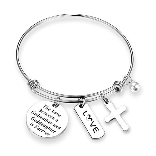 daughter Gift Godmother Bracelet Goddaughter Jewelry Godmother and Goddaughter Love is Forever Baptism Gift First Communion Gift (Godmother/Daughter Love BR) ()