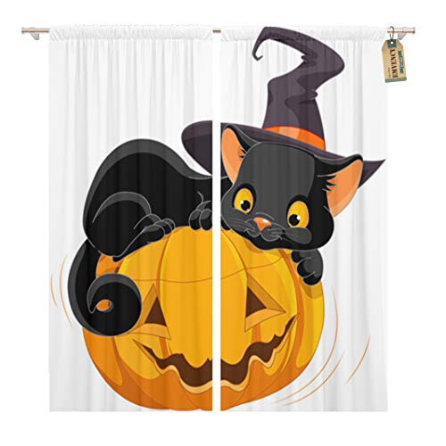Golee Window Curtain Cat of Halloween Kitten are Lying Happily on Pumpkin Home Decor Rod Pocket Drapes 2 Panels Curtain 104 x 84 inches]()