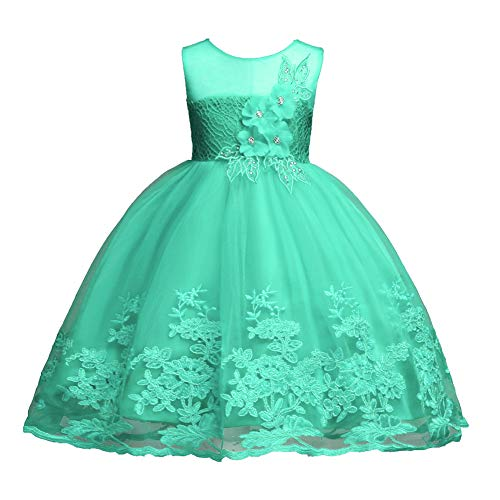 Baby Girl Dresses 18-24 Months Christmas Sparkly Dress Birthday Party Formal Pageant Dress for Kids Size 1 Sleeveless Flower Dresses for Toddler Baby Princess Cute Beautiful Clothing (Green 100)]()