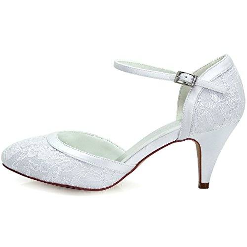 Shoes Hc1508 Bridle Mary Janes Buckle Punta Dendelle Elegantpark White tonda Donna Heel Décolleté Lace Ankle Pumps I4fwxOw