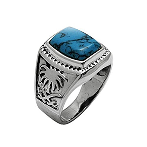 - Men Ring Palm Tree Design Long Radiant Shape Simulated Blue Turquoise 925 Sterling Silver, Size - 9