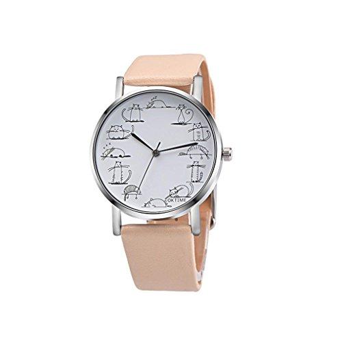 Hot Watches, Zulmaliu Lovely Cartoon Cat Design PU Leather Band Analog Alloy Quartz Wrist Watch (Beige)
