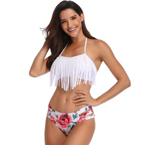 89a847b0722cb Potentcera NYC Two Piece Swimsuit Women Retro Tassel Bikini Halter Neck  with Hipster Bottom (White, X-Large)