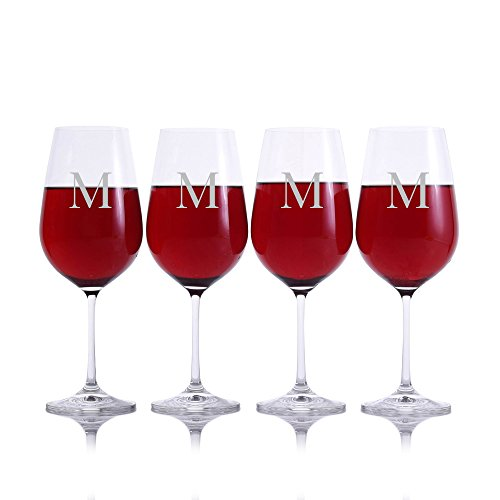 Personalized Crystalize Lead-Free Crystal Stemmed Red Wine Glasses Engraved & Monogrammed - Great Gift for Mother's Day, Weddings and - Monogrammed Wine Red