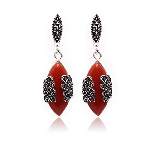Red Jade Beads Earring - GEM-inside 17x22mm Rhombue Red Jade Beads Tibetan Silver Marcasite Earrings Jewelry