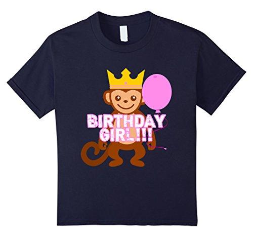 unisex-child Happy Bday Monkey Pink Ballon Birthday Girl Tshirt 8 Navy (Bday Monkey)
