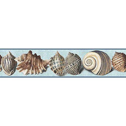 York Wallcoverings Nautical Living Shell Border, Chambray Blue/Marine Blue/Tan/Terra Cotta/Indigo Blue/Black