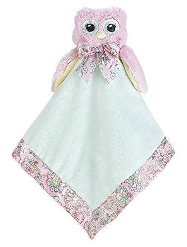 Bearington Baby Lil' Hoots Snuggler, Pink Owl Plush Stuffed Animal Security Blanket, Lovey 15