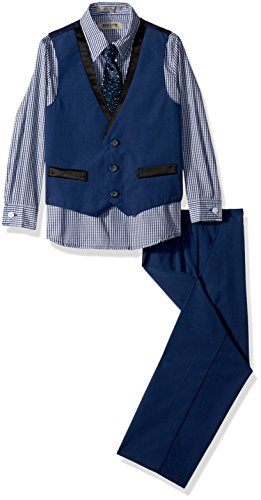 Kenneth Cole Boys' Toddler 4-Piece Dresswear Vest Set, Heathered Hope Diamond, 2T