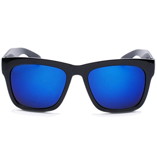 NYMSM Classic Mirrored Flat Lens Sunglasses Metal Frame Sunglasses , 100% UV400 - Anti Wiki Glare Glasses