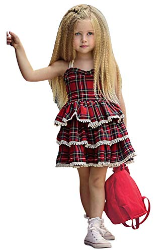 Girls Plaid Dress Baby Girl Plaid Pleated Dress Holiday Party Christmas Casual Dresses (1-2 Years, Red Girls Plaid Dress 90)