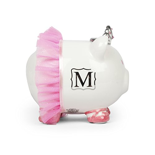 Crystal Bank (Personalized Porcelain Pink Piggy Bank with Swarovski Crystals in Letters S,M,E,C,A)