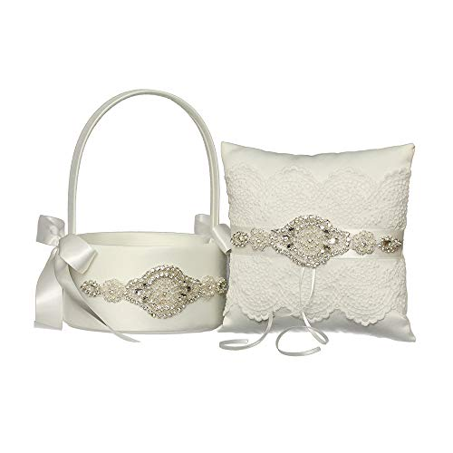 - LAPUDA Beautiful Hand Beading of Wedding Flower Basket and Ring Pillow with Elegant Appearance and Ivory Color,Pearl Type (1 Basket and 1 Pillow)