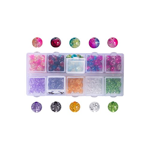 Lot 150pcs Glass Crackle Beads - LONGWIN 10 Color 8mm Crystal Handcrafted Round Beads with Plastic Container Jewelry Making Supply