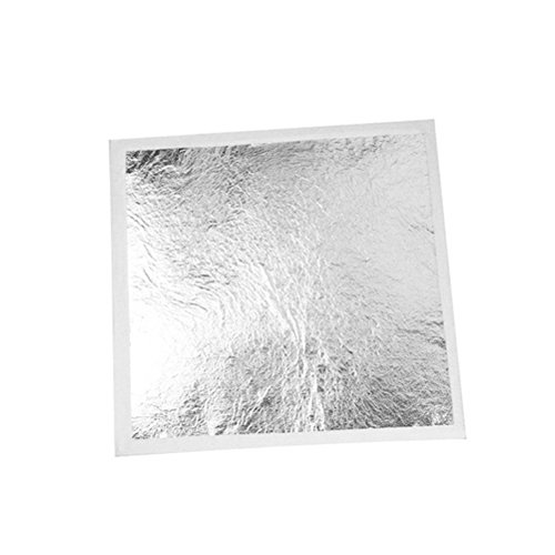 ULTNICE Silver Leaf Sheets Imitation Silver Foil for Crafts Gilding Crafting 100 Sheet
