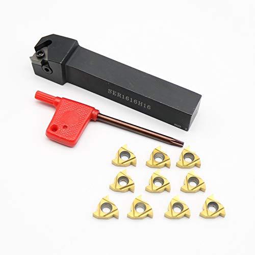 10Pcs 16ER AG60 Insert CNC+SER1616H16 Threading Turning Holder Boring Bar Tool