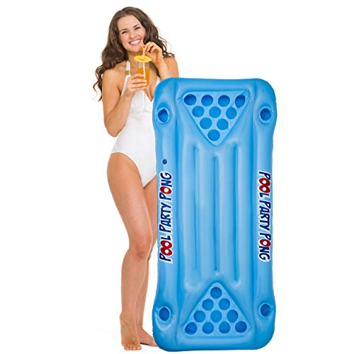 Koltose by Mash Beer Pong Pool Float, Floating Beer Pong Table, Lounger Styled Pool Raft Floatie for Pool Parties, Swimming Pool Accessories