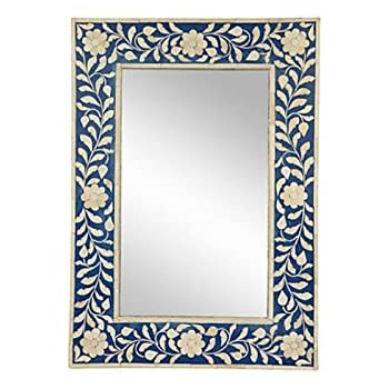 Amazoncom Antique Rustic Mother Of Pearl Mirror Frame Blue