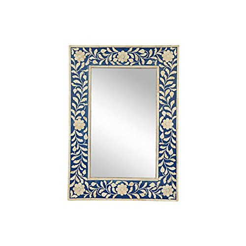 Antique Rustic Bone Inlay Mirror Frame Blue Handmade Inlay Furniture