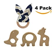 Vindyeer Wooden Teether Rings Natural Wooden Baby Teething Toys for Infant, Baby Teether Toy Bunny Teether Ring Baby Shower Gift Pack of 4