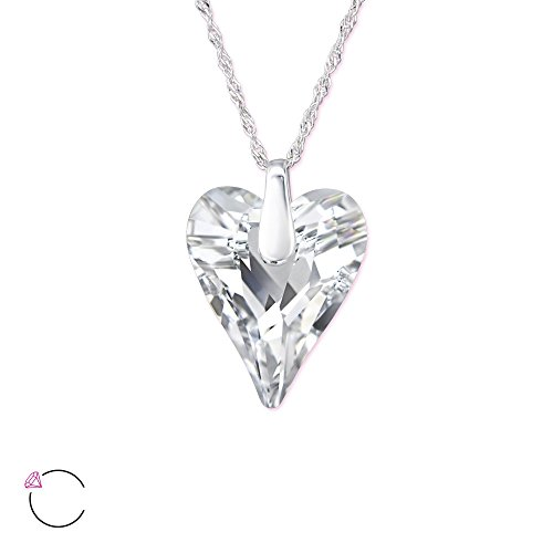 Atik Jewelry Silver Wild Heart Necklace with Swarovski Crystal - Comet Argent Light