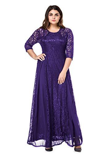 ESPRLIA Women's Plus Size Floral Lace 3/4 Sleeve Wedding Maxi Dress (Purple, 5X)