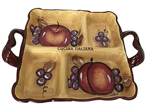 Classic Cucina Italiana Ceramic 4 Section Serving Tray with Handles Honey Fruit Decor