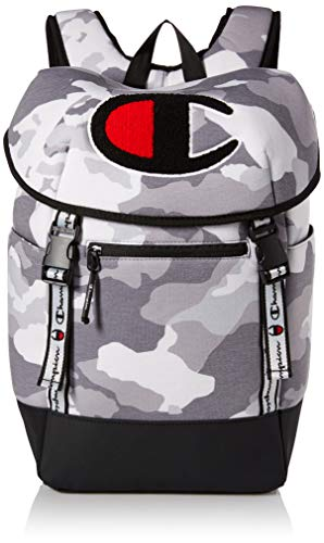 Champion Men's Top Load Backpack, Medium grey camo One Size