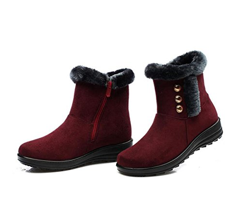 Snow Wine Warm Women Red Winter Time Rivet Button Dear Boots ywR4MA1qBn