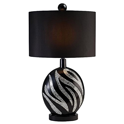 Bromfield Zebra Stripe Table Lamp in Platinum & Black