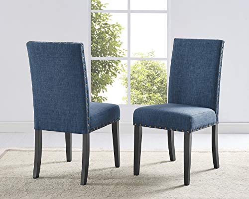 Roundhill Furniture Biony Blue Fabric Dining Chairs with Nailhead Trim, Set of 2 (Chairs Table Blue Dining And)