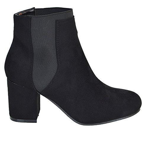 ESSEX GLAM Damen Wildlederimitat Stiefeletten Blockabsatz Chelsea Kurzshaft Schuhe BLACK FAUX SUEDE
