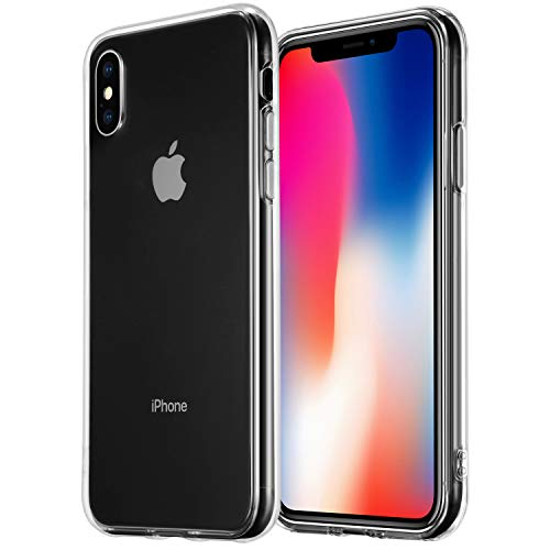 TekSonic Case for iPhone Xs and iPhone X, Crystal Clear, Transparent Soft TPU Rubberized Gel Case [Shock Absorption] Full Cover Anti Slip Back Case for Apple iPhone Xs and ()