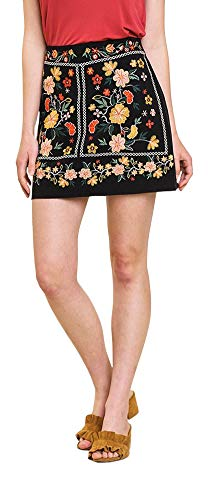 Umgee Thats My Girl! Heavily Embroidered Mini Skirt (New Black 2, Small)