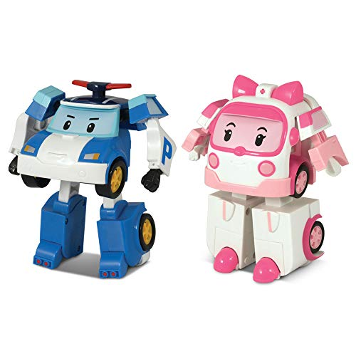 (2 팩)ROBOCAR POLI POLI&AMBER 변형 로봇 장난감 4TRAMSFORMABLE 액션 장난감 그림 장난감 선물