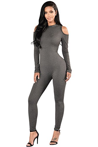 Mesdames gris froid épaule Soirée Combinaison à manches longues vêtements Taille S 8–10EU 36–38
