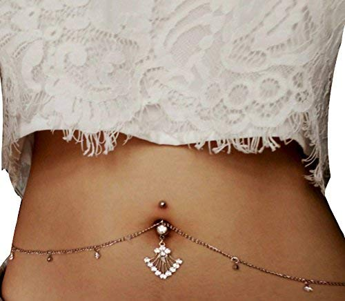 Waist Belly Sexy Chain - MayFee Women Sexy Rhinestone Piercing Bar Body Jewelry Boho Waist Chain Belt Belly Button Ring